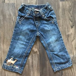 Embroidered Horse Blue Jeans